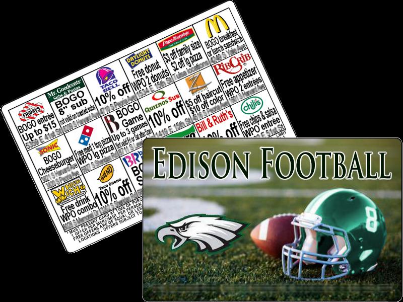 $15 High School football discount card fundraiser